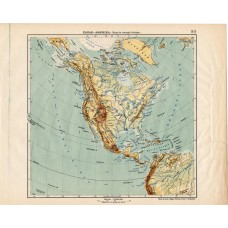 North America mountain and hydrographic map 1913