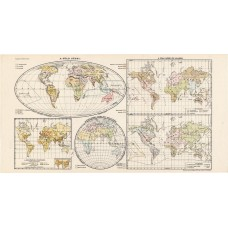 World map 1913, the peoples of the Earth