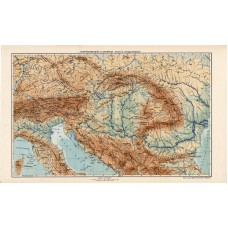 Austria and Hungary orographical and hydrographic map 1913