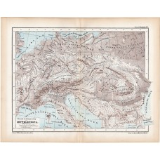 Central Europe mountain and hydrographic map 1870