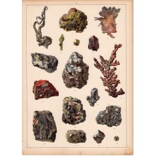 Mineral (20) - arsenic, platinum, azurite, lithography 1880