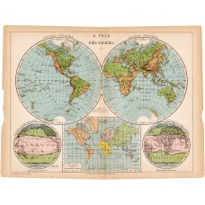 World map, the hemisphere of the Earth 1892