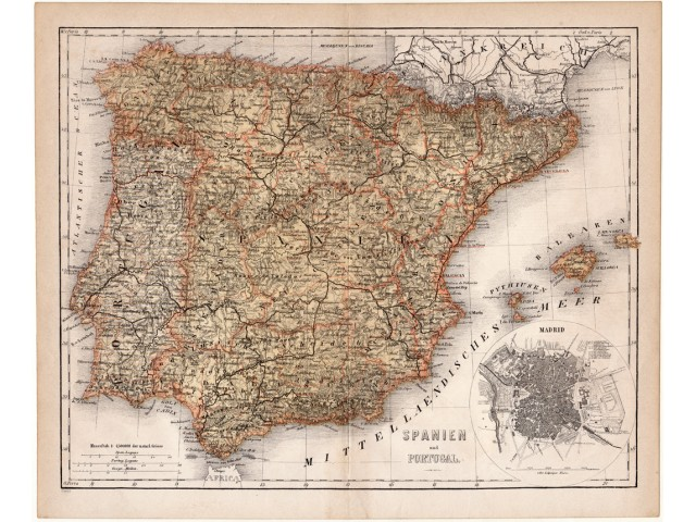 Spain and Portugal map 1874