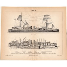 Ting - Yuen Chinese armored ship, print 1888