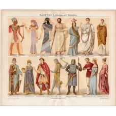Clothes, clothing antiquity and middle ages, lithography 1888