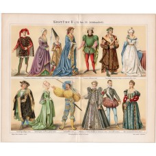 Clothes, clothing XV. - XVI. century, lithography 1888