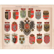 Coat of Arms of the Austro - Hungarian - Monarchy, lithography 1888