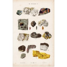 Emerald, garnet, orpiment and gold, copper, platinum, lithography 1885