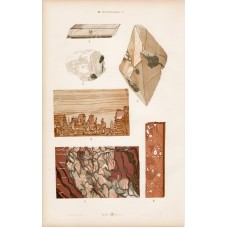 Marble, actinolite, lime-feldspar and selenite, anhydrite, lithography 1885