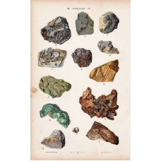 Gold, copper, platinum and emerald, garnet, orpiment, lithography 1885