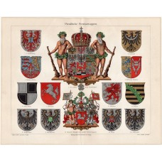 Prussian province coats of arms, litography 1906
