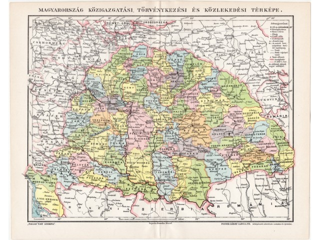 Hungary administrative map 1896