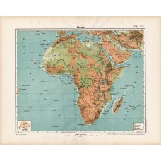 Africa orographic and hydrographic map 1906