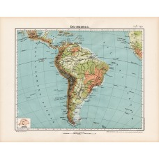 South America geographical and hydrographical map 1906