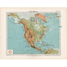 North America geographical and hydrographic map 1906