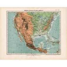 United States of America and Mexico map 1906